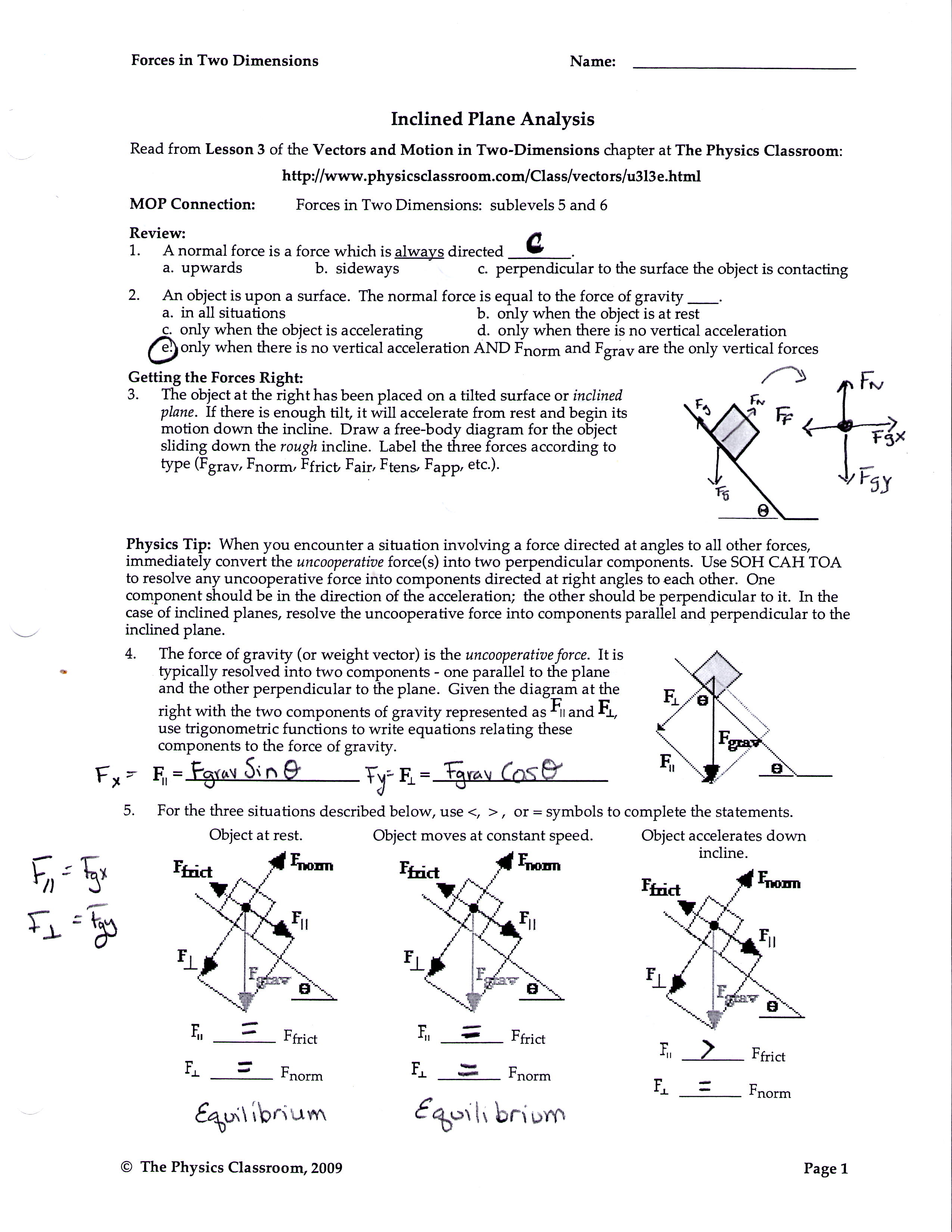 Friction worksheet answers physics classroom